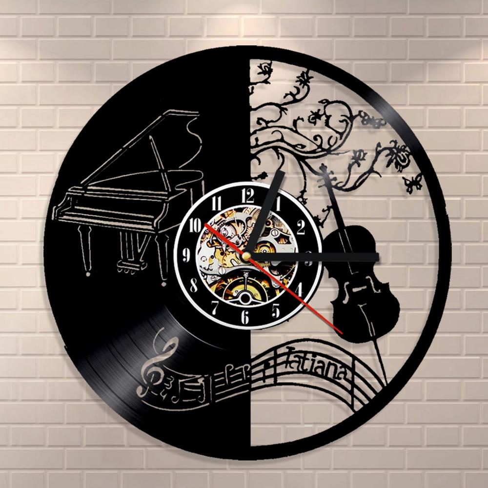 Piano and Violin Vinyl Wall Clock Laser Cut Template Free Vector