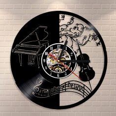 Piano and Violin Vinyl Wall Clock Laser Cut Template Free Vector