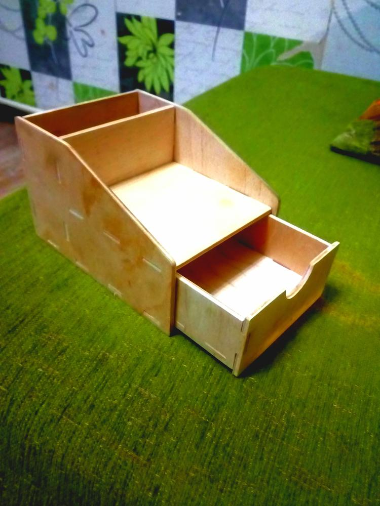 Laser Cut Mini Pencil Organizer with Drawer 4 mm DXF File