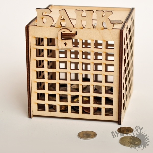 Laser Cut Piggy Bank Template Free Vector