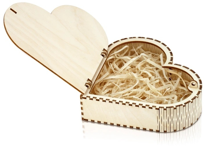 Laser Cut Wooden Heart Box Free Vector