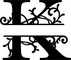Split Monogram Letter K DXF File
