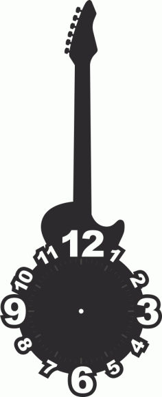 Guitar Shaped Clock Face Laser Cut Free Vector