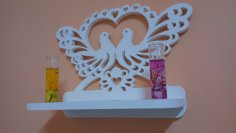 Heart Bird Shape Shelf DXF File