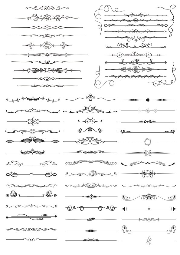 Hand Drawn Vector Doodle Borders Set Free Vector