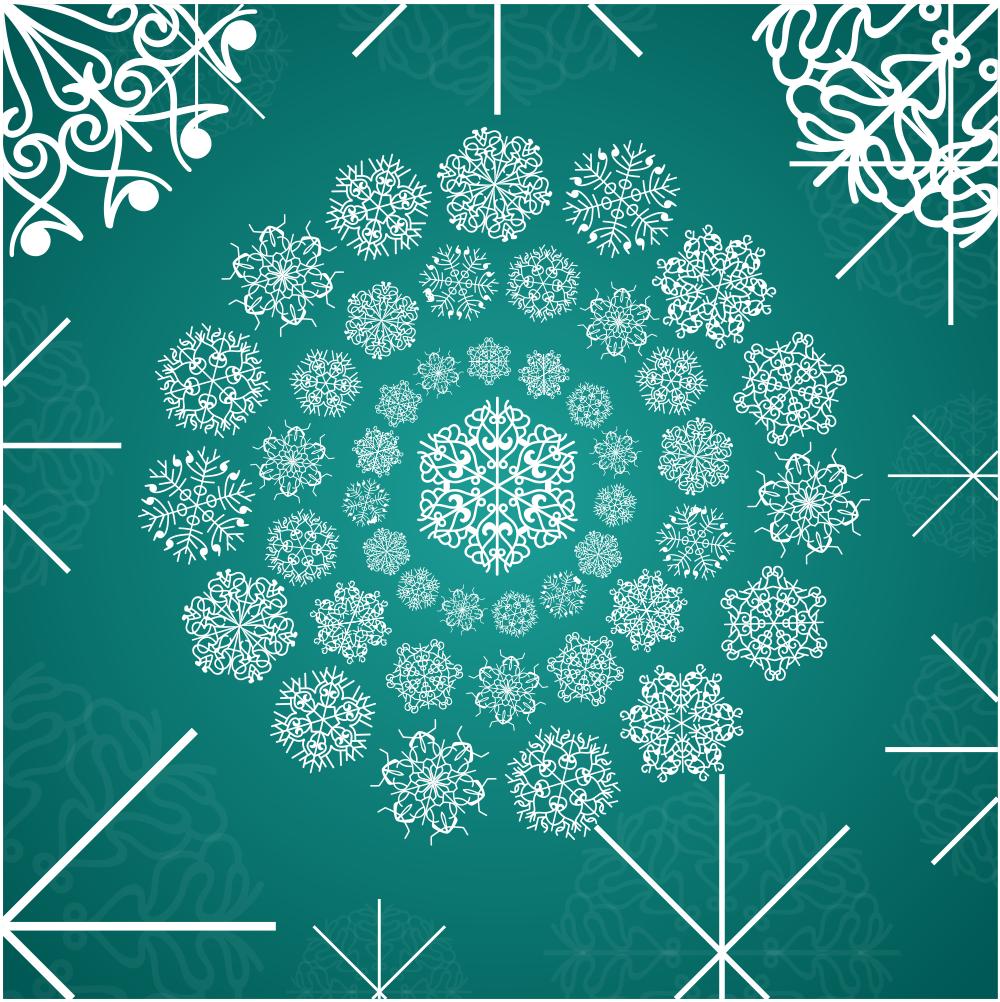 White Ornamental Snowflakes Free Vector