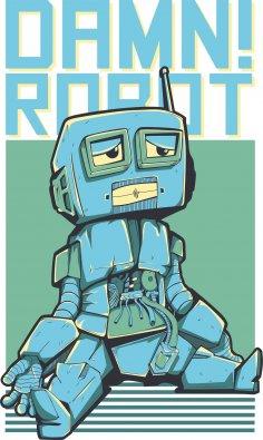 Damn Robot Print Free Vector