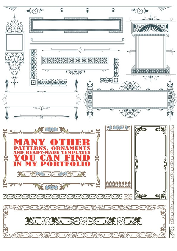 Vintage Text Frames and Dividers Free Vector