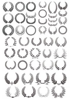 Laurel Wreath Vector Basic Black Collection Free Vector