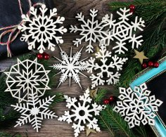 Laser Cut Wood Christmas Snowflake Ornaments Tree Hanging Decorations Free Vector