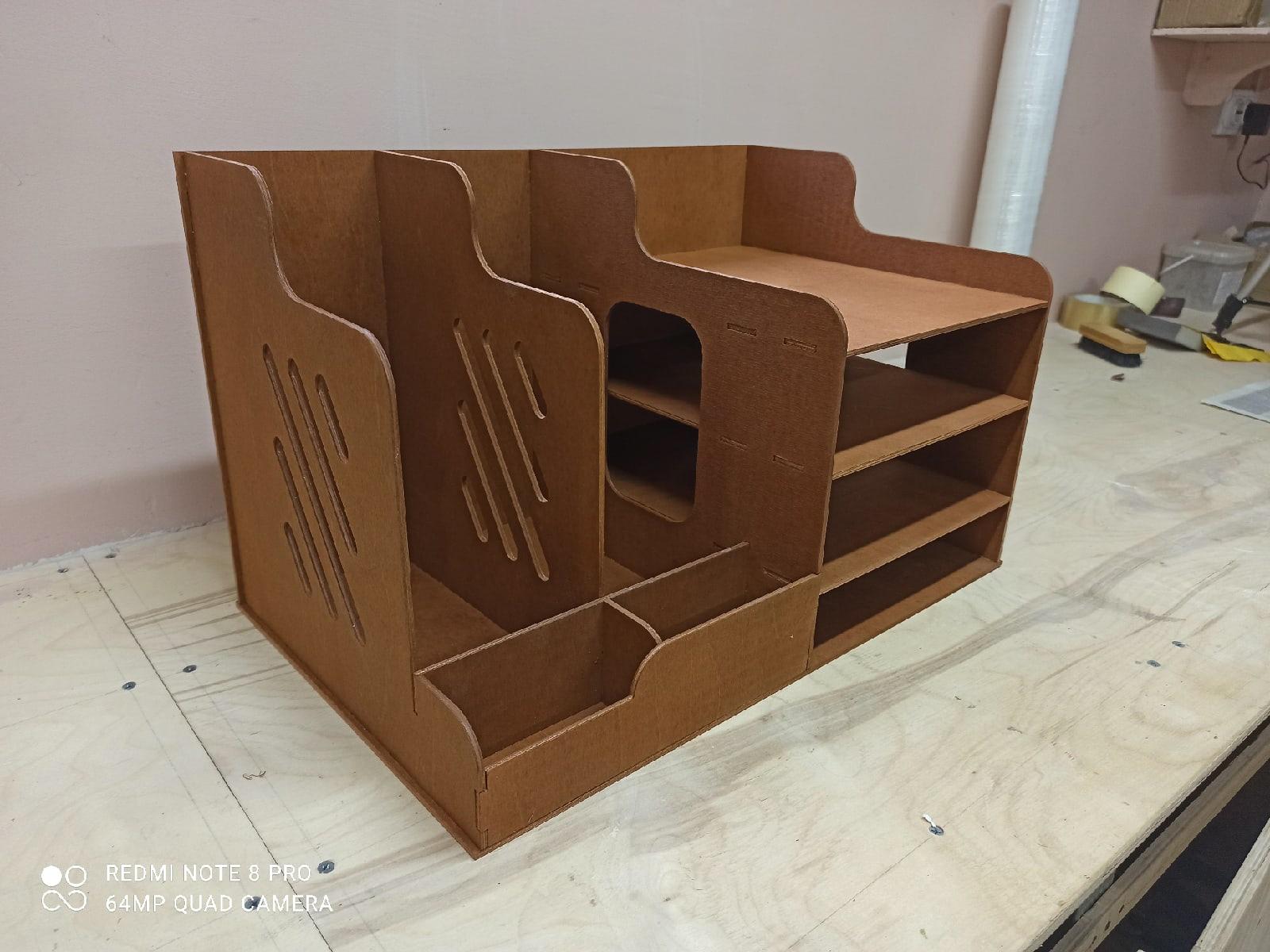 Laser Cut Wooden Desk Organizer For File Folder DXF File