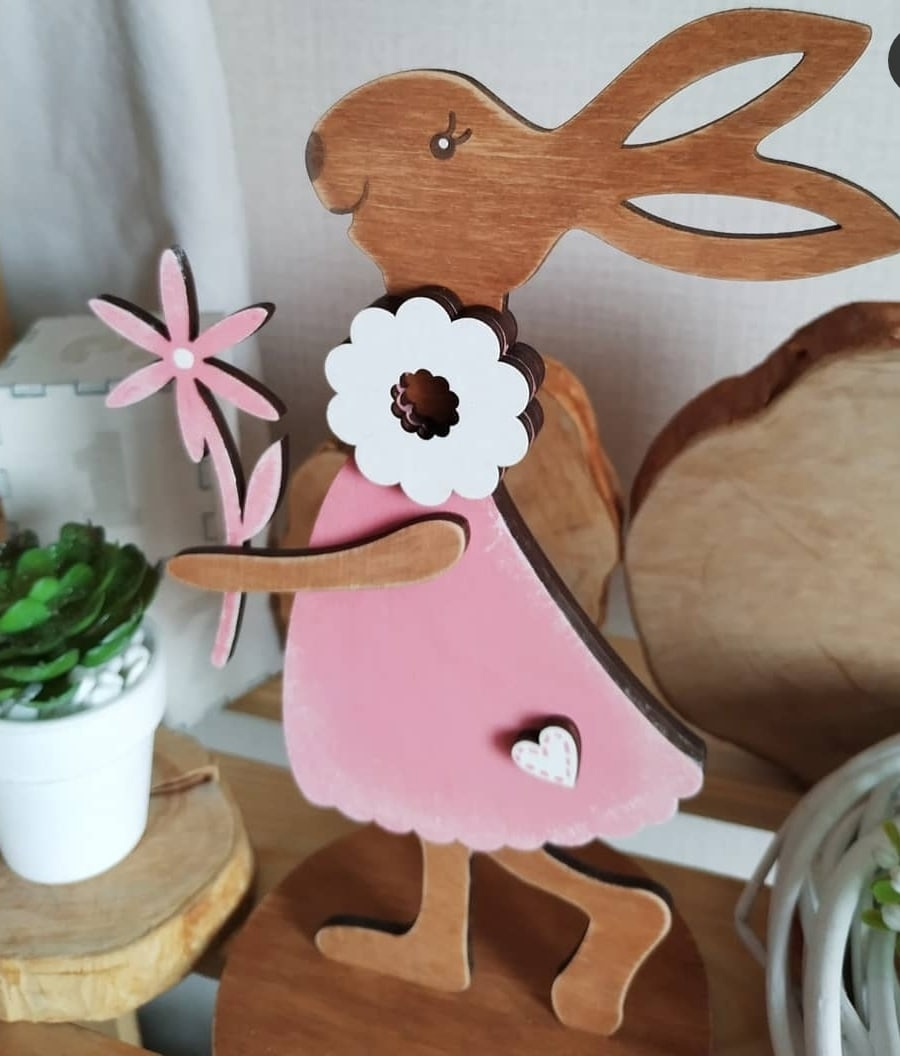 Laser Cut Decorative Bunny With A Flower 4mm 12cm Free Vector