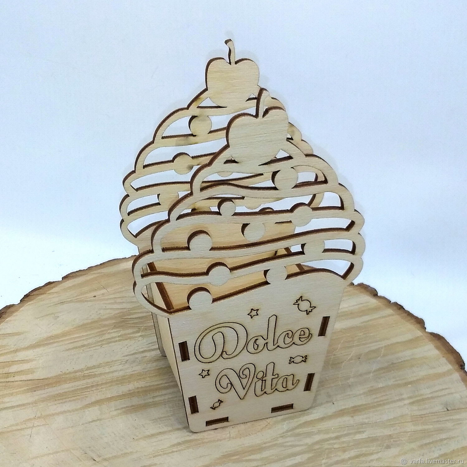 Laser Cut Ice Cream Shaped Wooden Box Candy Basket Free Vector