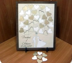 Laser Cut Personalized 3D Wedding Guest Book Alternatives Guestbook With Heart Free Vector