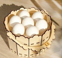 Laser Cut Decorative Wooden Basket Free Vector