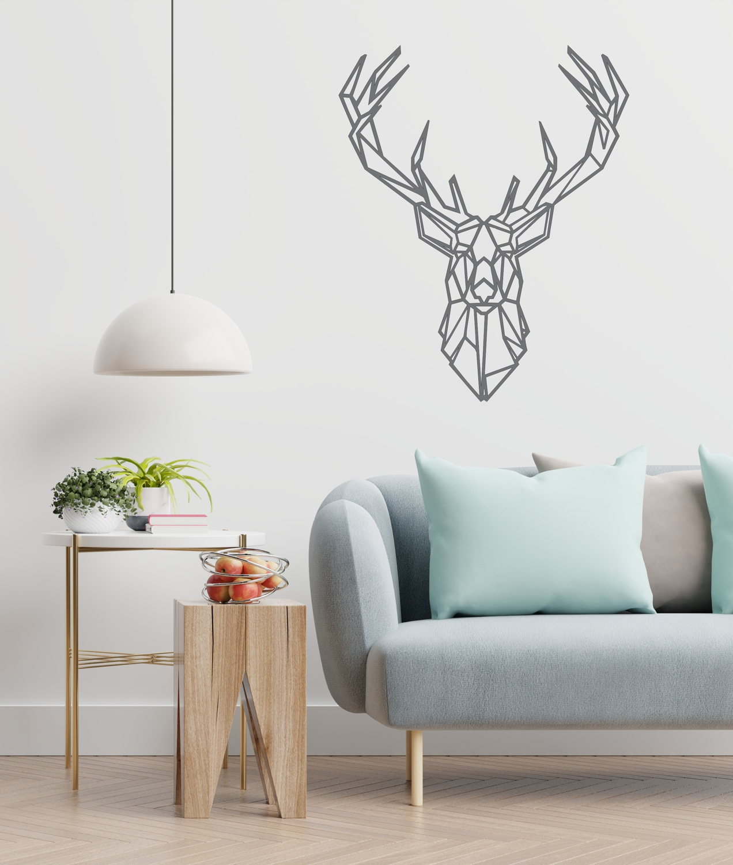 Laser Cut Geometric Stag Wall Art Modern Deer Wall Decor Free Vector