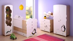 Laser Cut Baby Bed and Wardrobe Model Free Vector