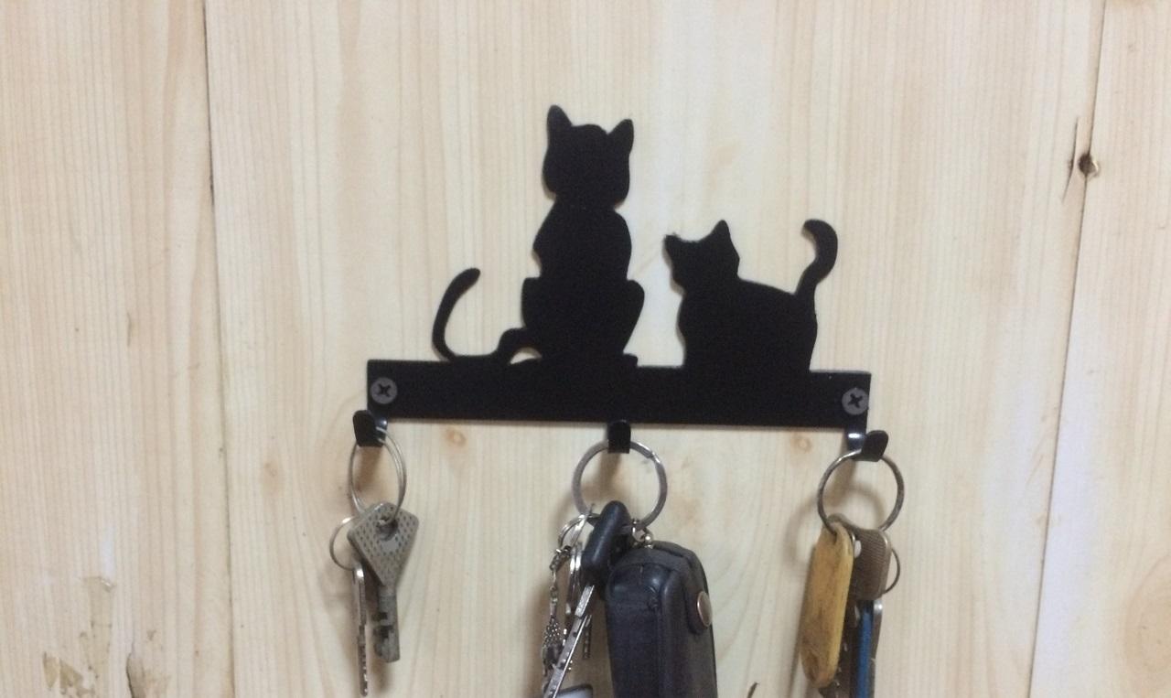 Laser Cut Cats Key Hanger Hooks Wall Mounted Storage Holder DXF File