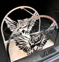 Flying Owl Metal Firewood Rack Holder Laser Plasma Cut Template DWG File