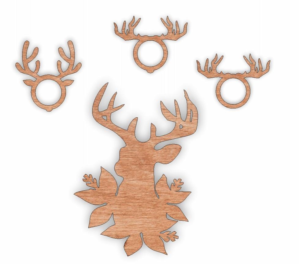 Laser Cut Wooden Reindeer Napkin Rings Free Vector