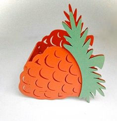 Laser Cut Pineapple Shape Basket Box Free Vector