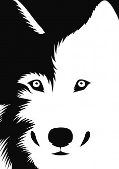 Dog Sticker Stencil Black and White Free Vector