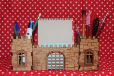 Laser Cut Fortress Desk Organizer Pen Holder DXF File