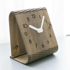 Laser Cut Modern Minimalist Desktop Clock Template Free Vector
