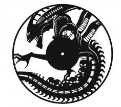 Alien Vinyl Record Wall Clock Laser Cut Template Free Vector