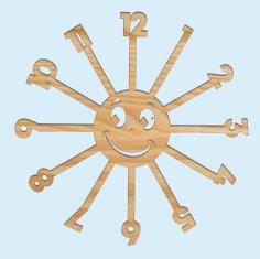 Laser Cut Sun Kids Room Wall Clock Free Vector
