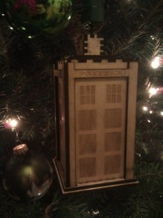 Laser Cut Tardis Christmas Ornament SVG File