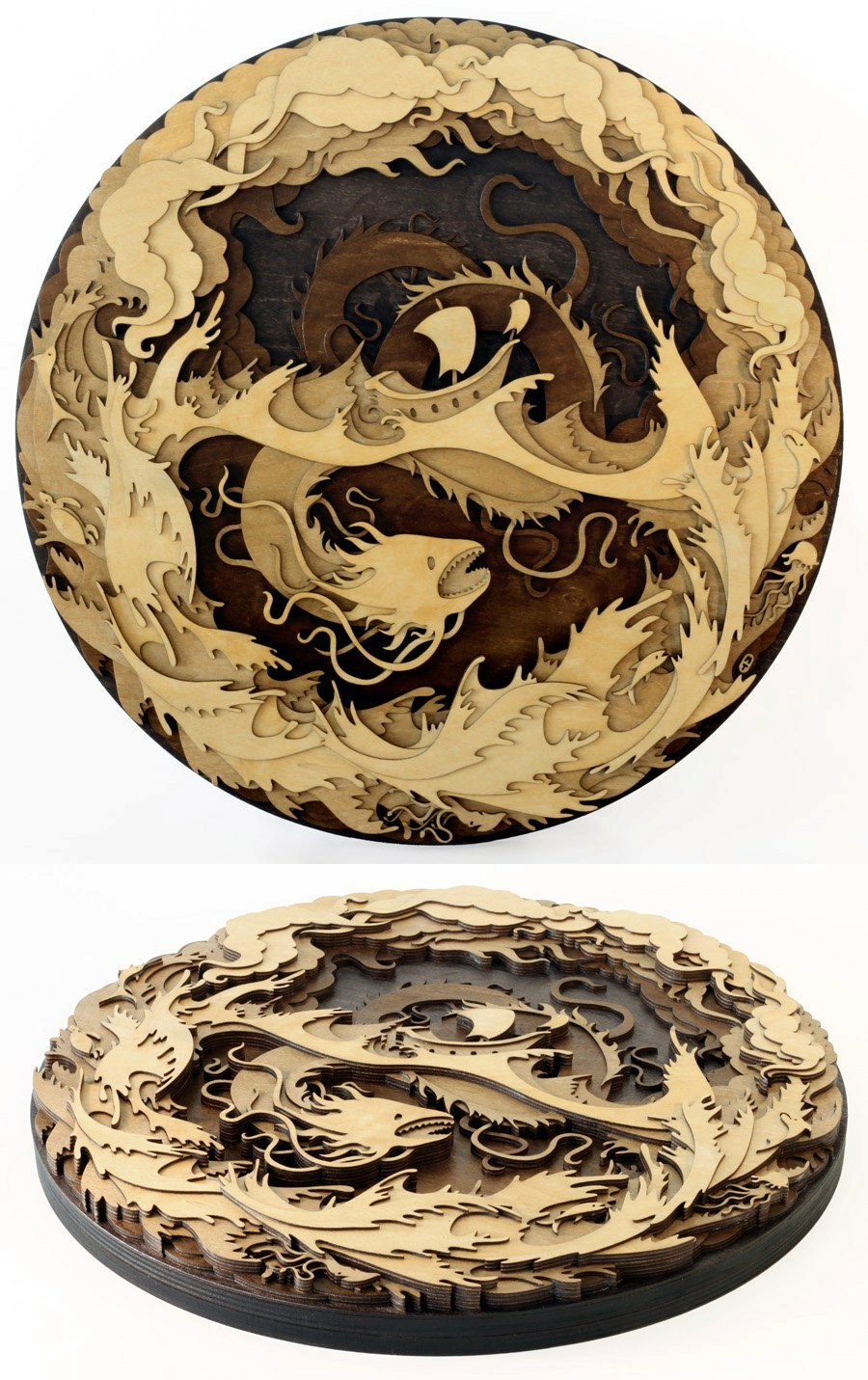 Laser Cut Dragon Layered Wood Art Free Vector
