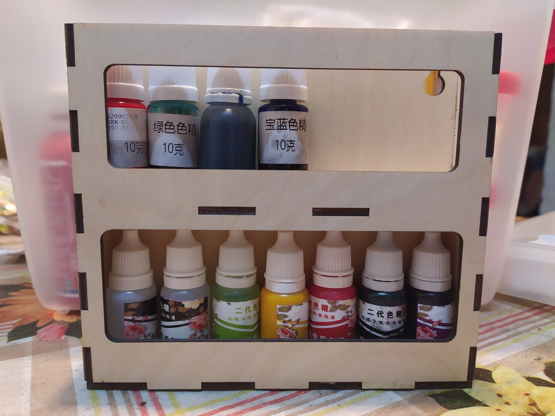 Laser Cut Wooden Pigment Paint Resin Bottle Jar Rack Organizer Wall Mounted Storage Shelf Free Vector