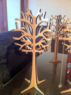 Laser Cut Wooden Jewelry Tree 6mm DXF File