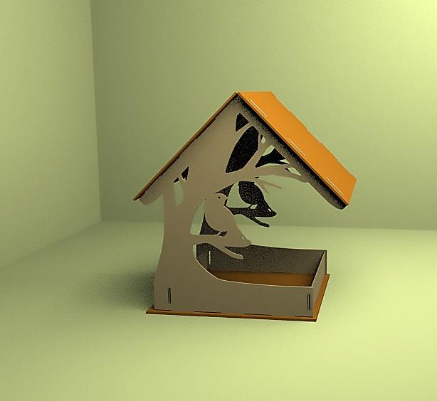 Laser Cut Bird Feeder Bird Feed Trough 4mm Free Vector