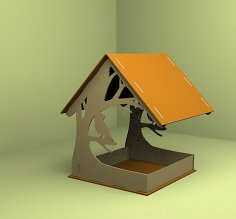 Laser Cut Bird Feeder Bird Feed Trough 4mm Free Vector
