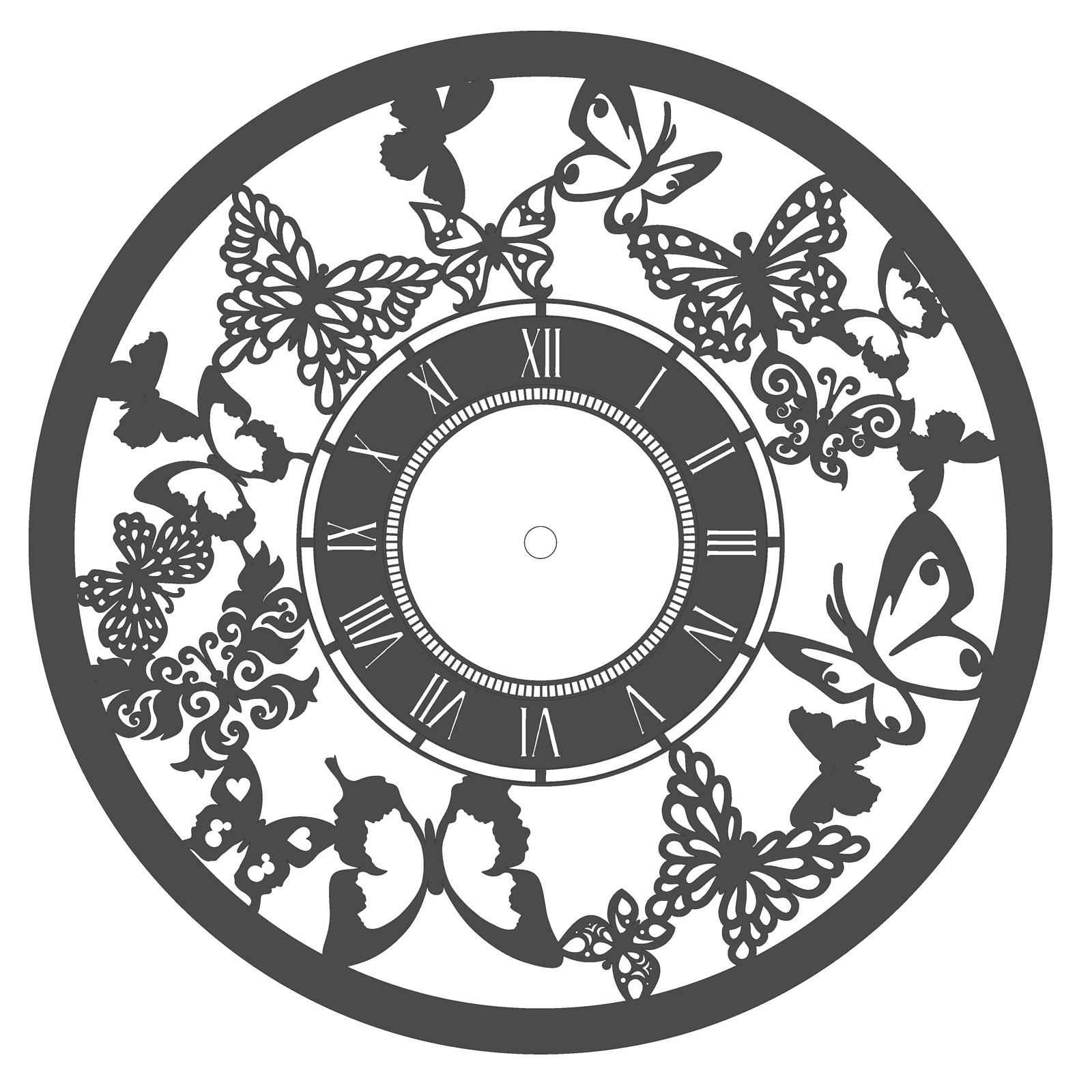 Laser Cut Butterfly Wall Clock Home Decor Free Vector