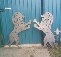 Laser Cut Lion Art Plasma Cut DXF File