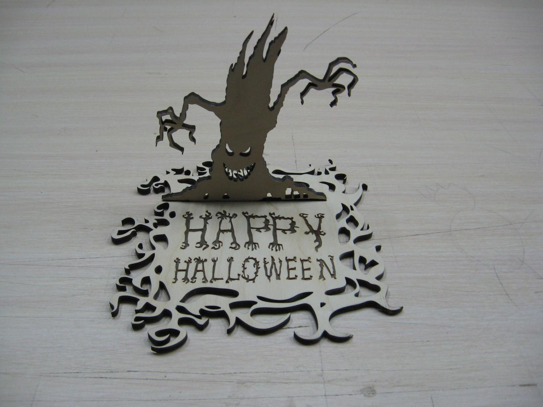 Laser Cut Happy Halloween Stand Free Vector