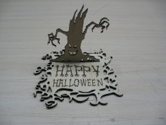 Laser Cut Happy Halloween Stand Free Vector