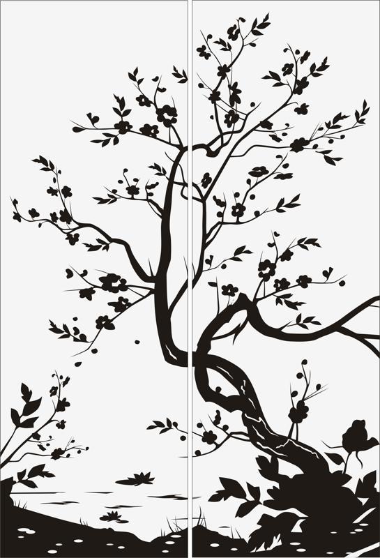 Tree Scenery Sandblast Pattern Free Vector