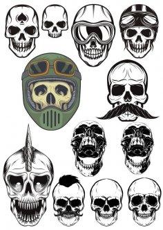 Evil Skull Vector Set Free Vector