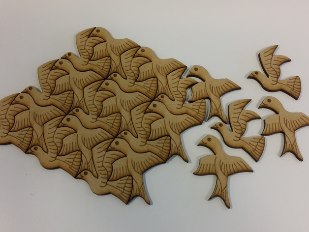 Birds Wall Decoration Puzzle dxf File