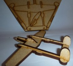 P38 Lightning Aircraft Laser Cut PDF File