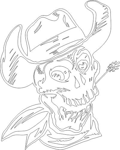 Skull Cowboy Hat DXF File