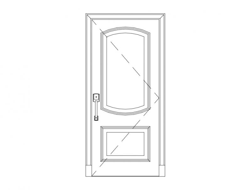 Wood Single Door dxf File