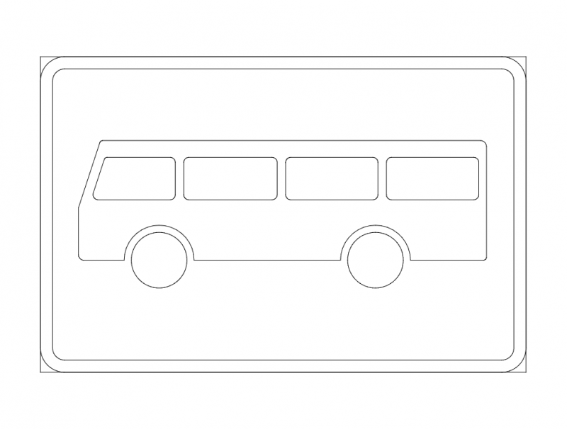Bus Stop Road Sign dxf File