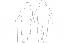 Old Man and Woman Walking dxf file