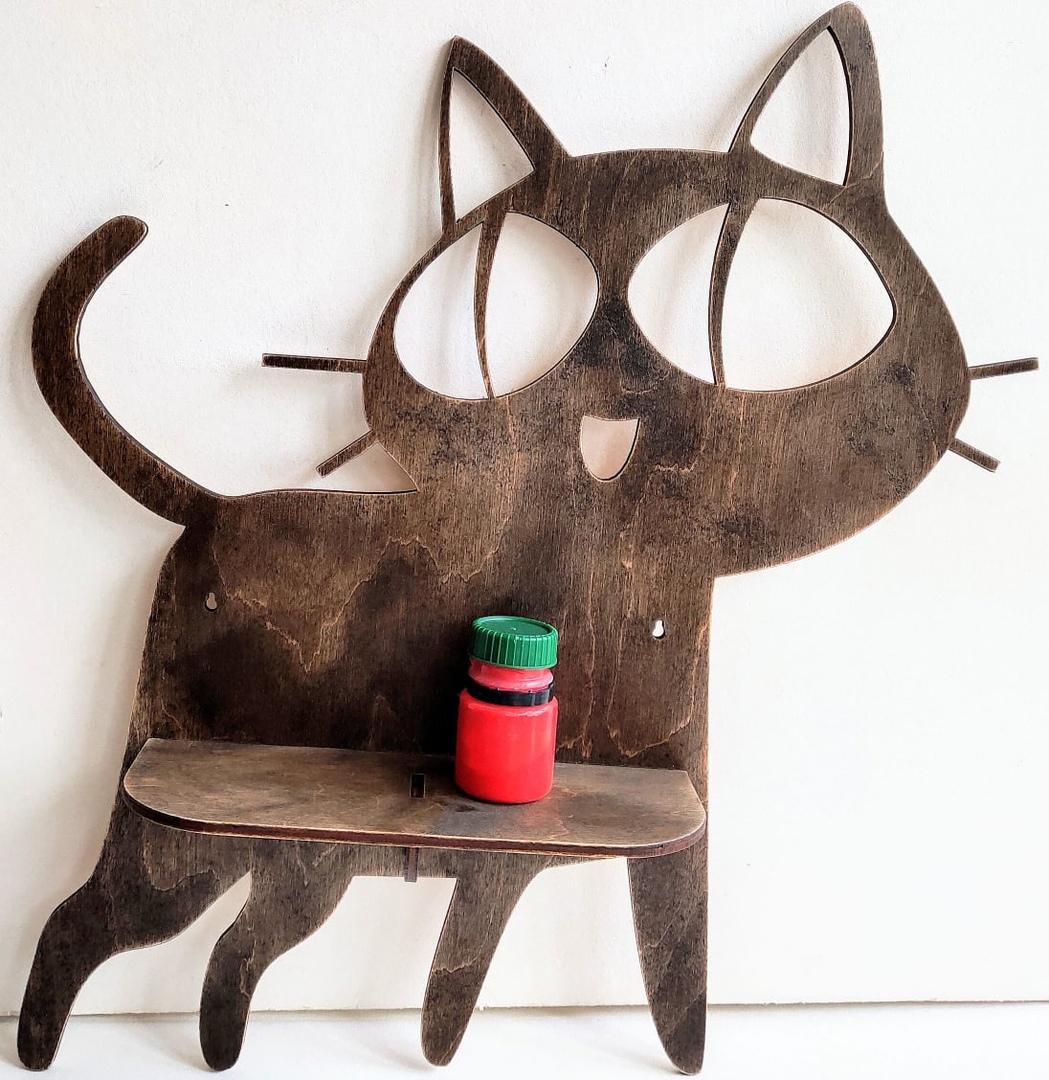 Laser Cut Cat Shaped Shelf Free Vector