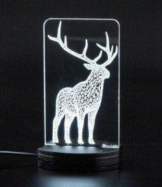 Laser Cut Christmas Deer Acrylic 3D Night Light DXF File